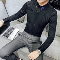 2018春季新款时尚男士酒吧KTV男长袖衬衫韩版修身发型师工作衬衣
