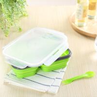 Evergreen爱屋格林方形可折叠多格硅胶耐热保鲜盒饭盒微波炉可用