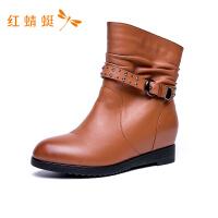 红蜻蜓2018年冬季新款搭扣纯色简约百搭时尚舒适休闲鞋内增高冬靴