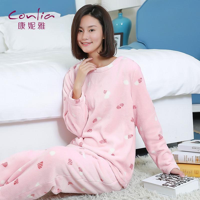 康妮雅珊瑚绒睡衣 女士秋冬卡通小贝壳印花加厚款睡衣套装