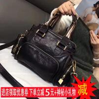 羊皮包包2018新款韩版女包小包女士手提包真皮休闲单肩包潮斜挎包 黑色现货【小礼物】