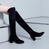彼艾2017秋冬新款韩版过膝靴瘦腿磨砂长筒靴粗跟长靴高跟黑色女靴