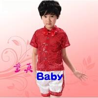 儿童演出服装男童舞蹈服男孩幼儿园小学生亮片合唱服装元旦表演服