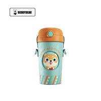 【限时秒杀】杯具熊(BEDDYBEAR)酷儿系列儿童吸管杯卡通便携背带保温大肚杯水壶520ml 西瓜狗