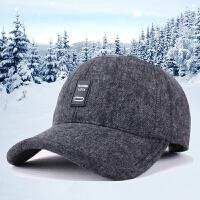 新款帽子冬季男士户外休闲毛呢棒球帽中老年保暖护耳鸭舌帽