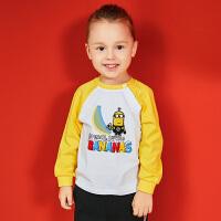 【2件3折到手价:34.5】小猪班纳童装男宝宝长袖t恤秋季打底衫男童上衣棉