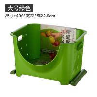 厨房置物架放蔬菜篮子收纳架落地多层果蔬家用水果收纳筐 大号 绿色 一个 1层