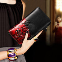 女士钱包长款2018新款个性牛皮夹子大容量卡包时尚百搭气质手拿包 (WQ256)红牡丹