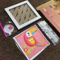 儿童钻石画材料包 儿童水晶点钻钻石画幼儿园手工DIY制作材料包小学生贴画女孩玩具 浅灰色 A003小鸟