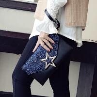 手包女新款潮韩版百搭亮片单肩斜挎包包个性时尚气质手拿包女