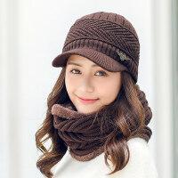韩版百搭冬天保暖加厚鸭舌帽毛线帽子女潮韩国甜美可爱针织帽
