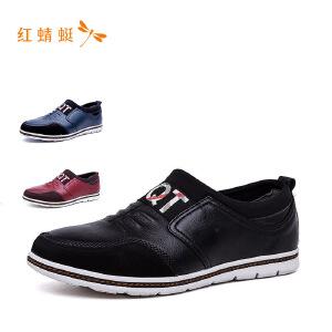 【专柜正品】红蜻蜓印字休闲潮流男士皮鞋