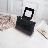 大包包女2018潮新款时尚百搭手提包个性透明链条休闲鳄鱼纹子母包
