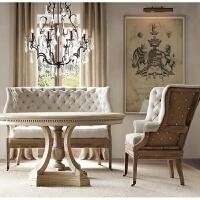 美式实木餐台法式轻奢小美家具餐桌椅组合简约复古做旧橡木圆餐桌