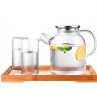 不锈钢盖冷水壶玻璃耐高温凉水壶套装家用玻璃壶水果花茶壶水杯壶组合 水杯 杯子