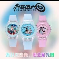 动漫刺客伍六七手表学生儿童卡通手表夜光发光LED灯手表硅胶表