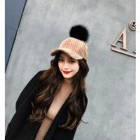女士加厚保暖帽子毛球鸭舌帽 新款棒球帽女弯檐时尚平檐学生帽子 韩版毛绒帽子女