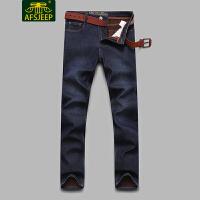 战地吉普(AFS JEEP)2017冬装新款男牛仔裤 加绒加厚保暖直筒宽松休闲男士牛仔长裤F6612加绒