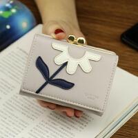 钱包女短款 学生 韩版 可爱小清新花朵零钱夹子 包包女2018新款