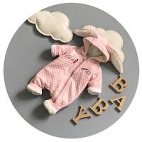 婴儿衣服冬季0-3-6个月新生儿连体衣服加厚抓绒男女宝宝百天哈衣9