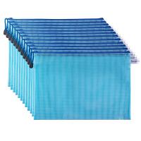 广博(GuangBo)12只装A4防水网格拉链文件袋/彩色档案袋 单色颜色随机A6112