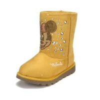 【618大促-每满100减50】鞋柜SHOEBOX冬款女童黄色米妮图案铆钉休闲加绒加厚雪地靴