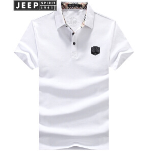 JEEP吉普短袖POLO衫男纯色商务休闲翻领T恤2018夏装新款纯棉男士半袖t恤