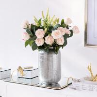 奇居良品 手感保湿玫瑰花仿真花配银色陶瓷花盆客厅餐桌装饰花艺