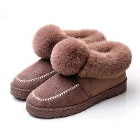 居家用外穿毛绒月子情侣棉鞋室内棉拖鞋女包跟防滑保暖软底