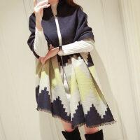 加厚仿羊绒披肩两用披风围巾女韩版格子围脖空调围巾