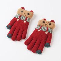 儿童手套女冬天3-6岁幼儿园宝宝手套男冬保暖加厚可爱毛线