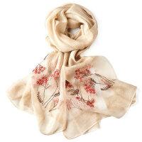 春秋刺绣花朵披肩长款防晒夏春季围巾女真丝围巾