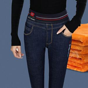安妮纯冬季刺绣松紧腰加绒加厚牛仔裤显腿长女高腰大码弹力显瘦长裤