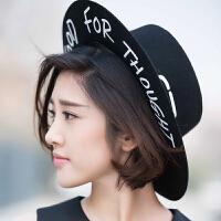 韩国明星同款礼帽复古绅士英伦风平顶平檐毛呢爵士帽男女帽子潮 均码可微调