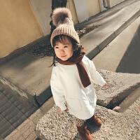 秋冬女童加绒卫衣加厚韩版2017新款儿童女宝宝保暖上衣