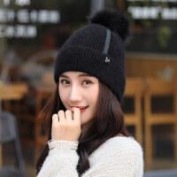 帽子女韩版潮保暖针织帽百搭甜美可爱毛线帽日系女生棉帽