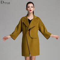 秋冬女士中长款外套时尚叉肩修身羊毛呢大衣C16051