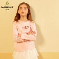马克华菲童装2019春新款女童纯棉长袖T恤儿童圣诞时尚打底衫潮