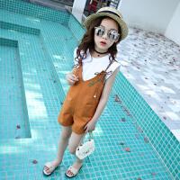 童装女童夏季套装中大儿童背带裤时髦套装儿童吊带两件套