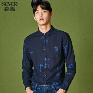 森马长袖衬衫男冬季新款韩版纯棉寸衣男士个性印花上衣潮流
