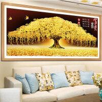 黄金满地十字绣线绣客厅生意兴隆刺绣摇钱树自己手工发财