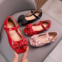 女童皮鞋公主鞋女孩软底浅口豆豆鞋宝宝休闲单鞋