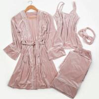 睡裙性感吊带长款睡袍四件套家居服金丝绒分体套装睡衣女士