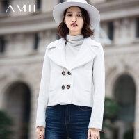Amii[极简主义]冬新大翻领双排扣插袋羊毛呢子外套女11571909