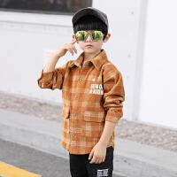 男童衬衫秋装儿童灯芯绒衬衣儿童格子长袖上衣中大童潮衣
