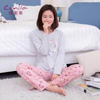 康妮雅睡衣秋季女士薄款长袖卡通简约休闲可外穿家居服套装