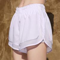 运动短裤女速干透气宽松假两件瑜伽健身防走光马拉松跑步裤夏内衬 白色 含内衬