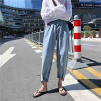 牛仔裤 女士休闲牛仔裤2019冬季新款韩版女式高腰哈伦裤学生宽松直筒九分裤子