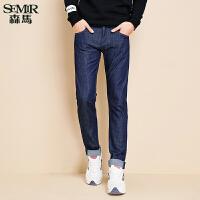 森马水洗牛仔裤 冬装新款 男士中低腰牛仔直筒小脚长裤韩版潮