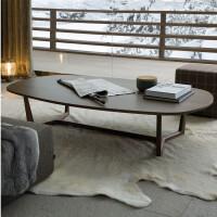 北欧家具椭圆形茶几极简约水曲柳实木美式咖啡桌设计师薄边茶几 组装